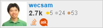 Profile for wecsam on Stack Exchange, a network of free, community-driven Q&A sites