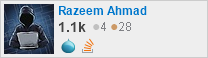 profile for Razeem Ahmad on Stack Exchange, a network of free, community-driven Q&A sites