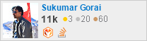 profile for Sukumar Gorai on Stack Exchange, a network of free, community-driven Q&A sites