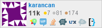 profile for karancan on Stack Exchange, a network of free, community-driven Q&A sites