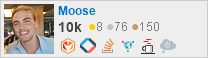 profile for moose on Stack Exchange, a network of free, community-driven Q&A sites