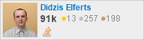 profile for Didzis Elferts on Stack Exchange, a network of free, community-driven Q&A sites