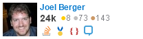 profile for Joel Berger on Stack Exchange, a network of free, community-driven Q&A sites