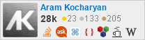 profile for Aram Kocharyan on Stack Exchange, a network of free, community-driven Q&A sites