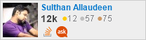 profile for Sulthan Allaudeen on Stack Exchange, a network of free, community-driven Q&A sites