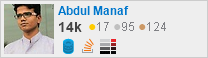 profile for Abdul Manaf on Stack Exchange, a network of free, community-driven Q&A sites