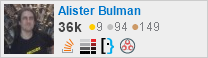 profile for Alister Bulman on Stack Exchange, a network of free, community-driven Q&A sites