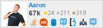 profile for Aaron on Stack Exchange, a network of free, community-driven Q&A sites