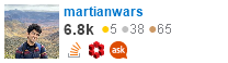 profile for martianwars on Stack Exchange, a network of free, community-driven Q&A sites