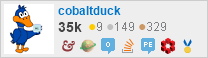 profile for cobaltduck on Stack Exchange, a network of free, community-driven Q&A sites