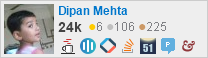 profile for dipan-mehta on Stack Exchange, a network of free, community-driven Q&A sites